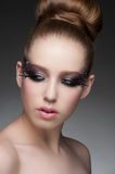 Makeup with rhinestones Stock Photography
