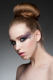 Makeup with rhinestones Royalty Free Stock Images
