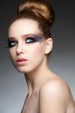 Makeup with rhinestones Stock Photos