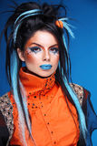 makeup Rockowa fryzura Portret młody piękny ruchu punków model w Obraz Royalty Free