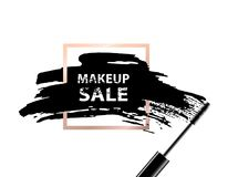 Makeup sale banner. Makeup sale text on dark background and golden frame. Vector illustration.  Royalty Free Stock Image