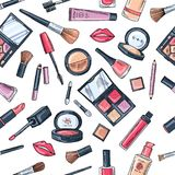 Makeup seamless pattern. Illustrations of different cosmetics Royalty Free Stock Photos