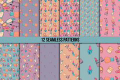 Makeup seamless pattern set Stock Image