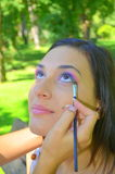 Makeup session outside Royalty Free Stock Photos