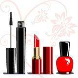 Makeup set. Collection of makeup cosmetics and ornament on white background stock illustration