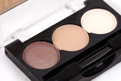 Makeup set: box of eye shadows, pastel color Royalty Free Stock Photos