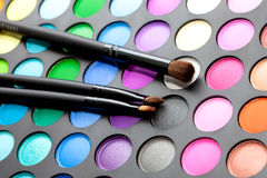 Makeup set with brushes Royalty Free Stock Image