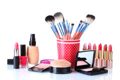 Makeup set  with brushes Stock Photo