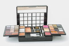 Makeup set. Case with various types of makeup and brushes Royalty Free Stock Image