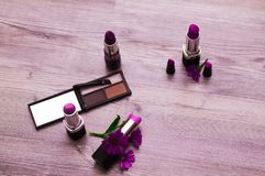 Makeup Set Collage Mascara makeup l eye liner background royalty free stock photos