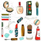Makeup Set Colorful Drawing Stock Photography