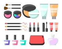 Makeup set. Cream, cosmetics brush, mascara and perfume royalty free illustration