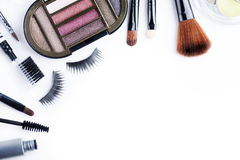 Makeup set isolated over white Stock Photos