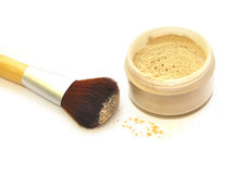 Makeup set powder and brush. Isolate on white Stock Photography