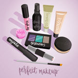 Makeup set. Powder, eyeshadows, lip gloss, mascara, concealer, blush Stock Image