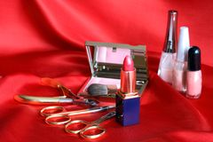 Makeup Set On Red Stock Photo
