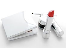 Makeup set with red lipstick Stock Photos