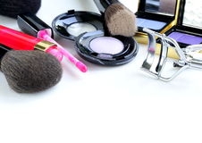 Makeup set (shadows, lipstick, brush) Stock Image