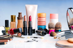 Makeup set on table front view. Makeup set on glass table front view Stock Photos