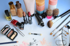 Makeup set on table top view. Makeup set on glass table top view Stock Images
