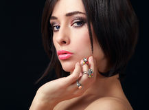 Makeup sexy woman looking passion Royalty Free Stock Image