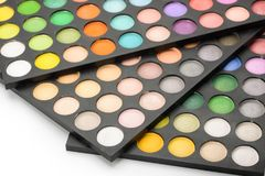 Makeup shade palettes. Close up of makeup shade palettes stock images
