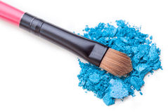 Makeup shadow and brush Stock Photography