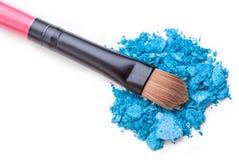 Makeup shadow and brush. Makeup brush eye shadows colours rainbow art makeup artist white yellow orange red pink blue green grey dark brown art blending soft Stock Photography