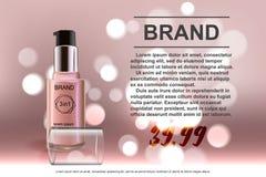 Makeup som innehålls i en genomskinlig flaska, kräm- färgläderbakgrund Royaltyfri Foto