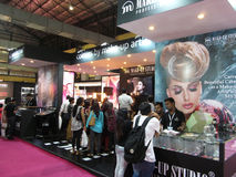 Makeup studio stall at Professional Beauty Expo. Venue- Professional Beauty Expo, Mumbai. Date- 6th Oct 2015 stock image