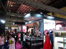 Makeup studio stall. Venue- Professional Beauty Expo,Mumbai Date - 6th Oct 2015 stock photography