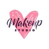 Makeup Studio Vector Logo. Stroke Pink Heart Illustration. Brand Lettering illustration Stock Photo
