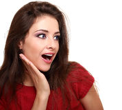 Makeup surprised woman looking Stock Photography