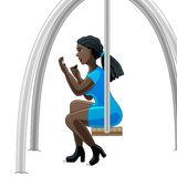 Makeup on a swing royalty free illustration