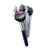 Makeup Szczotkarska akwarela odizolowywająca Fotografia Stock