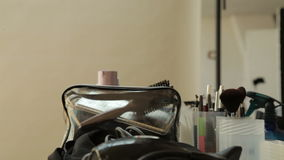 Makeup table in a professional studio stock footage