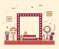 Makeup table vanity linear mirror dressing vector Stock Photography