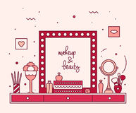 Makeup table vanity linear mirror dressing vector Royalty Free Stock Images