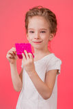 Makeup teen girl. Cute cosmetics woman having fun with make-up products Stock Photography