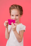 Makeup teen girl. Cute cosmetics woman having fun with make-up products Stock Photo