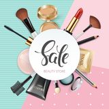 Makeup template beauty store with collection of realistic beauty decorative cosmetics and makeup tools beauty. Powder Royalty Free Stock Photography