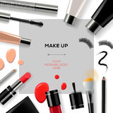 Makeup template with make up cosmetics stock illustration