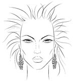 Makeup template v2. Sketch of a female face which can be a perfect template for makeup techniques Royalty Free Stock Photography