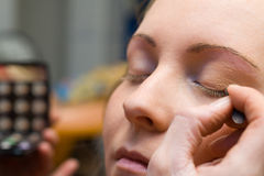 Makeup time 4. Applying eyeshadow, time for makeup Stock Photography