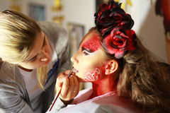 Makeup. The time of applying makeup on public exhibition Stock Images