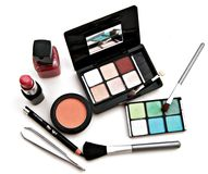 Makeup tools. Lot of makeup consists of eye shadow and nail polish lipstick rouge Royalty Free Stock Images