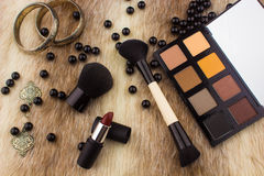 Makeup tools on Fur background Royalty Free Stock Photography