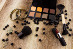 Makeup tools on Fur background Royalty Free Stock Photos