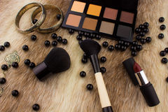 Makeup tools on Fur background Royalty Free Stock Photo