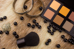 Makeup tools on Fur background Stock Photography